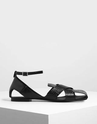 Charles & Keith Croc-Effect Criss Cross Peep Toe Sandals