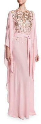 Oscar de la Renta Embellished Self-Belt Silk Caftan Gown, Light Pink/Champagne $3,690 thestylecure.com