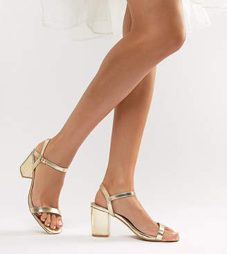 Glamorous Wide Fit Gold Block Heeled Sandals