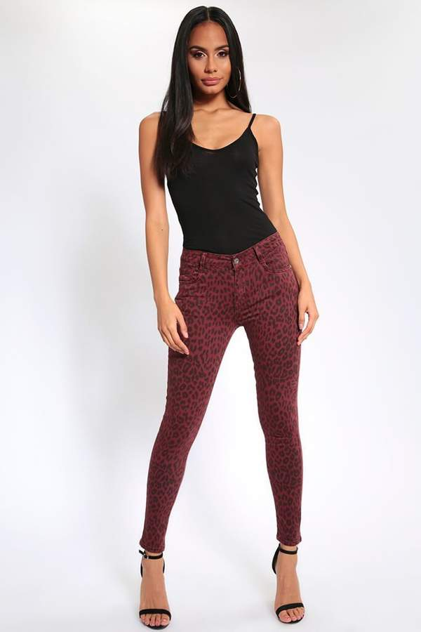 Isawitfirst Burgundy Leopard Print High Waisted Skinny Jeans