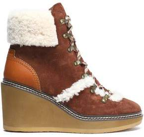 See by Chloe Martinica Shearling-Trimmed Suede Wedge Ankle Boots