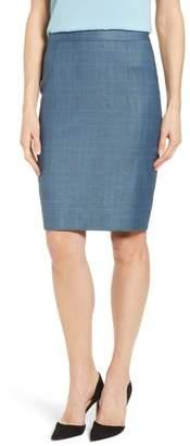 BOSS Vimena Glencheck Stretch Wool Pencil Skirt
