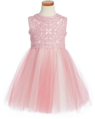 Toddler Girl's Tadashi Shoji Lace & Tulle Dress $230 thestylecure.com