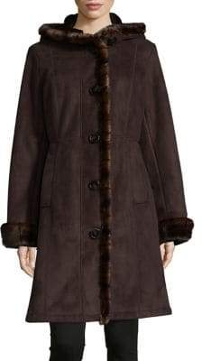 Gallery Faux Shearling-Trimmed Coat