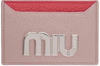 Miu Miu (ミュウミュウ) - Miu Miu ピンク カラーブロック ビッグ ロゴ カード ホルダー