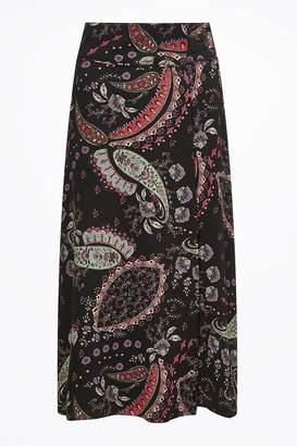 d77a54d5d20 Next Womens Jigsaw Black Paisley Pattern Wrap Midi Skirt