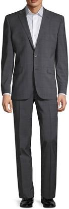 Kenneth Cole Windowpane Plaid Wool Blend Suit