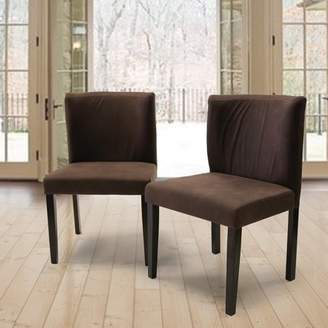 Warehouse of Tiffany Mario Curved Back Brown Fabric Dining Chair Set of 2