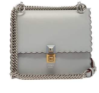 Fendi Kan I Small Leather Cross Body Bag - Womens - Light Blue