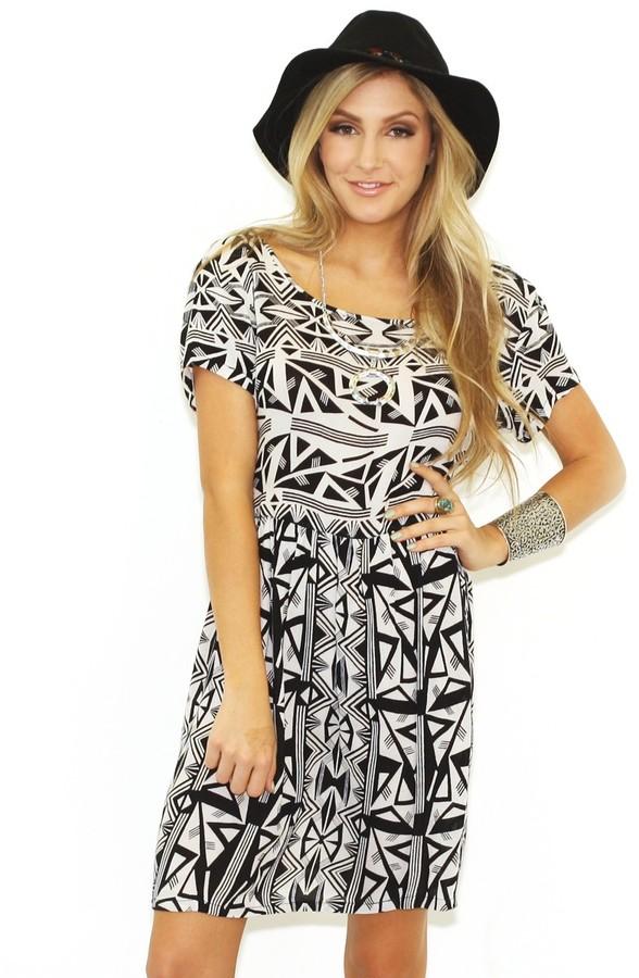 Babydoll West Coast Wardrobe Dress in Black and White