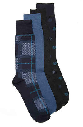 Perry Ellis Luxury Microfiber Plaid Crew Socks - 4 Pack - Men's