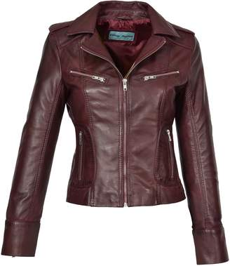 a57627893a24 House of Leather Womens Real Lambskin Leather Biker Style Fitted Casual  Jacket Kim Dark