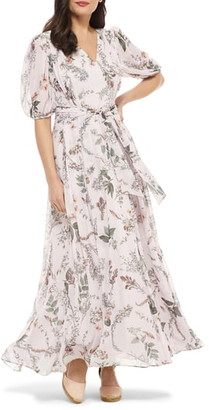 Gal Meets Glam Phoebe Floral Puff Sleeve Chiffon Maxi Dress