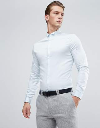 Asos Wedding Skinny Sateen Shirt In Blue With Wing Collar And Double Cuff