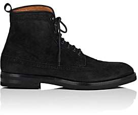 Antonio Maurizi MEN'S MEDALLION-TOE SUEDE WINGTIP BOOTS-BLACK SIZE 9 M