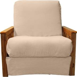 Comfort Style Arts & Crafts Perfect Sit & Sleep Pocketed Coil InnerSpring Pillow Top Chair Sleeper Child Bed, Chair, Medium Oak, Suede Khaki