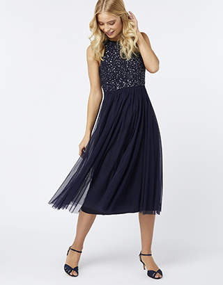 Monsoon Scarlett Embellished Tulle Midi Dress