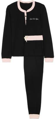 Morgan Lane - Two-tone Embroidered Modal-blend Jersey Pajama Set - Black