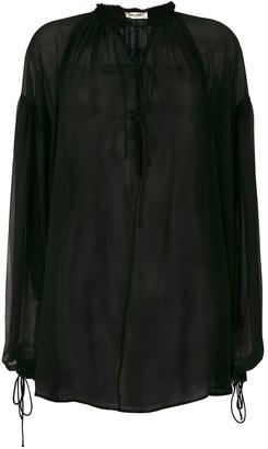 Saint Laurent sheer tie neck blouse