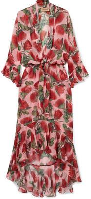 Adriana Degreas Fiore Ruffled Tie-detailed Floral-print Silk-chiffon Dress - Blush