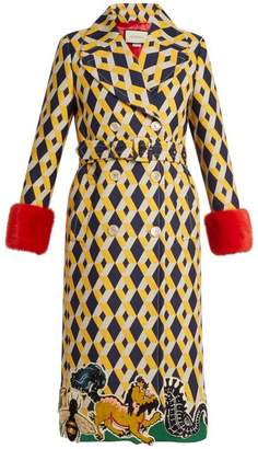 Gucci Geometric Print Fur Trimmed Wool Blend Coat - Womens - Yellow Multi