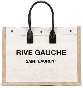 Saint Laurent Noe Tote Bag in White & Black | FWRD