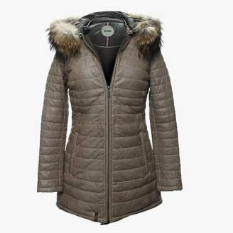 Oakwood Popping Quilted Beige Leather Fur Trim Jacket