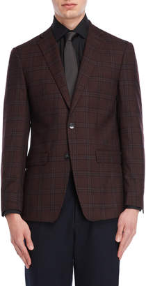 Calvin Klein Burgundy Plaid Slim Fit Sport Coat
