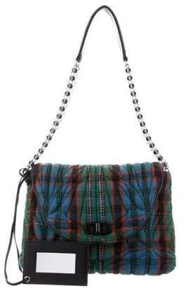 Balenciaga Wool Plaid Shoulder Bag