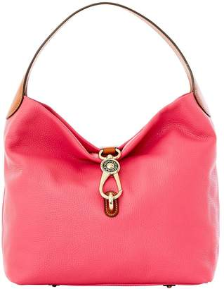 At Dooney Bourke Pebble Grain Logo Lock Shoulder Bag