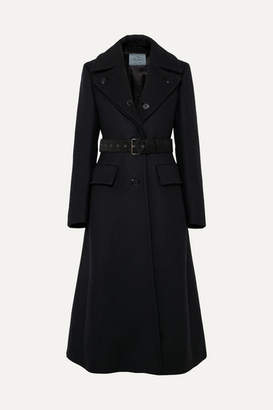 Prada Belted Wool-twill Coat - Navy
