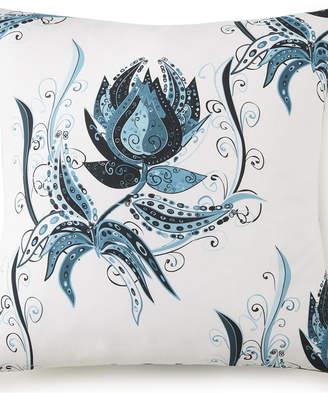 Tropical Bloom Euro Sham - White Background, Blue Print Bedding