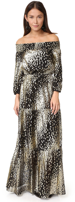 Shoshanna Off Shoulder Metallic Dot Gown $570 thestylecure.com