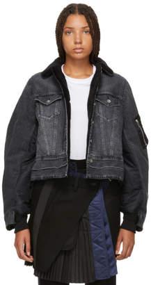 Sacai Black Denim and Nylon MA-1 Combo Jacket