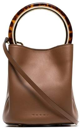 Marni brown Pannier resin handle leather bucket bag