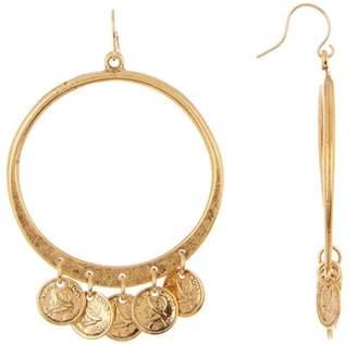 Yochi Coin Hoop Dangle Earrings