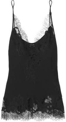 Carine Gilson Moussalza Chantilly Lace-trimmed Silk-georgette Camisole - Black