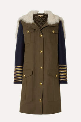 Michael Kors Button-embellished Shearling-trimmed Wool And Cotton-twill Coat - Army green