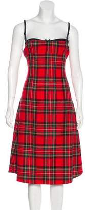 Dolce & Gabbana Plaid Bra-Accented Dress w/ Tags