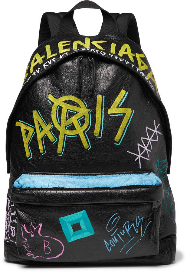 Arena Graffiti-Printed Creased-Leather Backpack