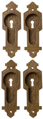 Rejuvenation Ornate Bronze Victorian Pocket Door Pulls w/ Broken Leaf-Style Pattern
