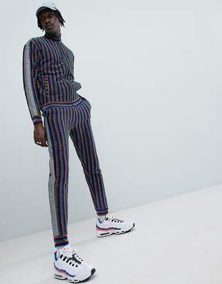 Jaded London Rainbow Stripe Joggers With Metallic Side Stripe