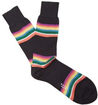 Paul Smith - Kem Striped Cotton Blend Socks - Mens - Black