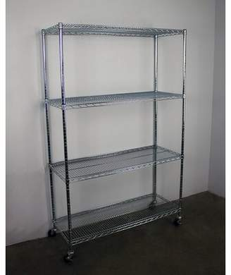 SafeRacks 4-Tier Wire Shelving Unit with Wheels SafeRacks