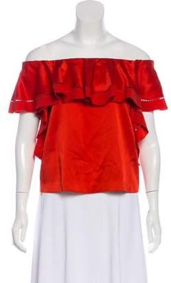 Rachel Zoe Ruffle-Accented Short Sleeve Top