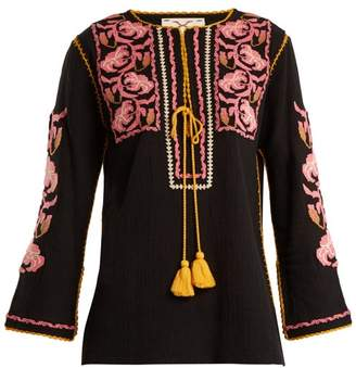 Figue Zoe Embroidered Cotton Shirt - Womens - Black Multi