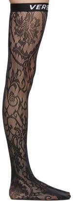 Versace Underwear Black Logo Band Lace Stockings