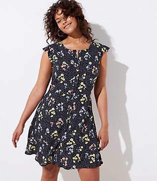 LOFT Plus Floral Dot Button Down Flutter Dress