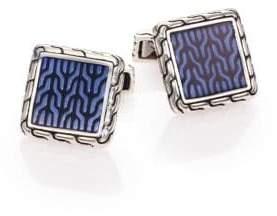 John Hardy Classic Chain Enamel& Sterling Silver Cuff Links