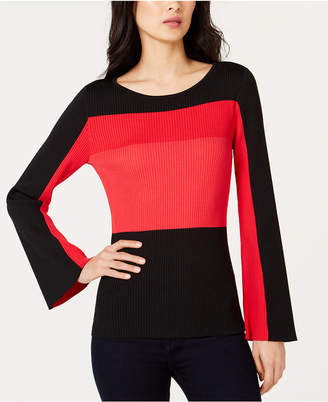 INC International Concepts I.n.c. Colorblocked Bell-Sleeve Sweater